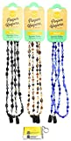 Eyeglass Retainer & Sunglass Holder By Peeper Keepers Glass Beads, Assortment Marble(3), 3pk mix | w/Microfiber Cloth & Screwdriver