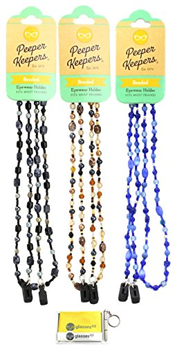 Eyeglass Retainer, Sunglass Chain by Peeper Keepers Glass Beads, Assortment Marble(3), 3pk Mix | w/Microfiber Cloth, Screwdriver