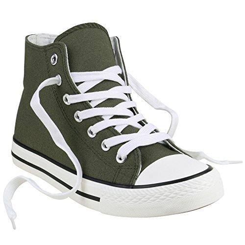 Stiefelparadies Damen Sneaker High Camouflage Sneakers Denim Stoffschuhe Schnürer Canvas Schuhe Freizeit Turnschuhe Flats Übergrößen Flandell Dunkelgrün Weiss