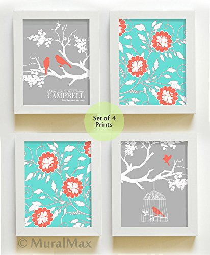 Coral and Turquoise Wall Decor Family Tree Personalized Prints - Home Decor Wall Art - Wedding Gift - Housewarming Gift - Personalized Gift - Size 8x10