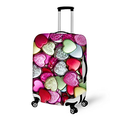 For U Designs 26-30 Inch Large Fashion Love Heart Style Printed Luggage Covers Spandex Suitcase Cover for Woman by For U Designs luggage cover (Image #1)