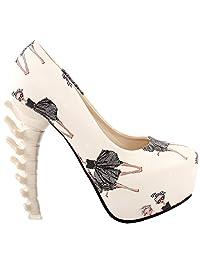 Show Story Ladies Skull Rose Print Platform Bone Heel Party Club Pumps,LF80610