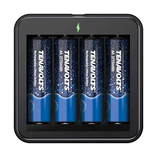 TENAVOLTS Rechargeable Lithium/Li-ion Batteries, AA rechargeable batteries, Micro USB Charger included - 4 Count