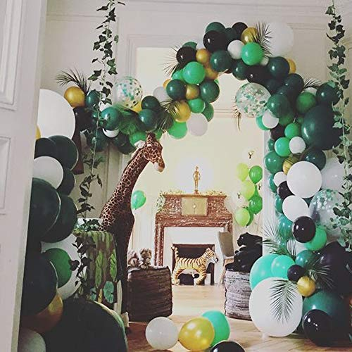 Jungle Safari Theme Party Decorations 174pcs:130 latex balloons,24 Green Palm Leaves, 16 feets Arch Balloon strip tape, 2 Balloon tying tools Safri party Supplies and Favors for Kids Boys Birthday Baby Shower Decor by foci cozi (Image #7)