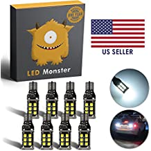 LED Monster 8-Pack Extremely Bright Backup Reverse Lights 15-SMD T10 T15 194 921, 15 Chipsets, Xenon White, 1600 Lumens, No Hyper Flash