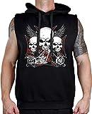 vest chopper - Men's 3 Skull Chopper Biker Sleeveless Vest Hoodie Large Black