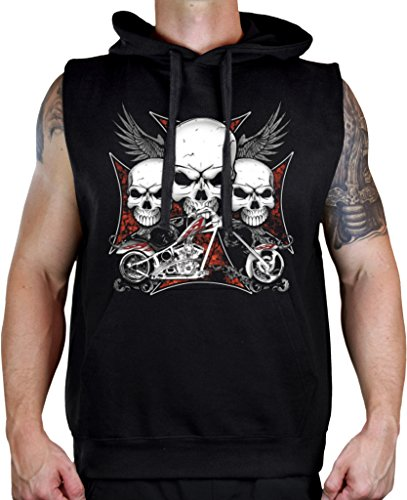 Men's 3 Skull Chopper Biker Sleeveless Vest Hoodie Large ()