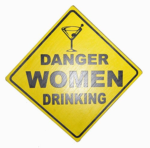 WorldBazzar Hand Carved Wooden Danger Women Drinking Road Warning Sign