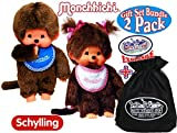 "Schylling Monchhichi Classic Boy (Blue) & Girl (Pink & White) Gift Set Bundle with Exclusive ""Matty's Toy Stop"" Storage Bag - 2 Pack"