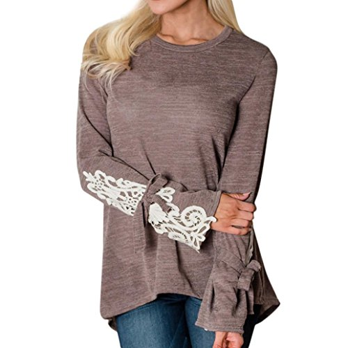 Patchwork Bow (Gallity Women Solid Lace Patchwork Bow Long Sleeved O-Neck Irregular T-Shirt Blouse Tops (Coffee, S))