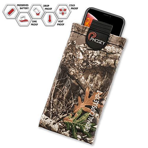 PHOOZY Realtree XP3 Thermal Phone Case - Helps Protect from Heat, Extends Battery Life, Floats in Water. for iPhone 8/X/Xs/11Pro, Galaxy S8/S9/S10 and Similar Phones [Edge - Plus Size]