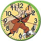 Quiet Round Wall Clock Frameless Arabic Numbers The Adventures of Tintin Fashionable Whisper Quiet 10 Inch / 25... Coupon 2017