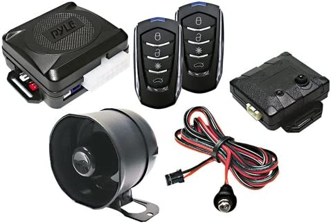 Pyle Car Alarm Security System - 2 Transmitters w/ 4 Button Remote Door Lock Vehicle Ignition Locks Status Indicator LED w/ Sensor Bypass Valet ...