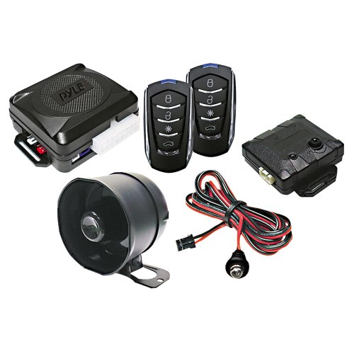 Pyle Car Alarm Security System - 2 Transmitters w/ 4 Button Remote Door Lock Vehicle Ignition Locks Status Indicator LED w/Sensor Bypass Valet Override Switch & 2 Auxiliary Outputs - PWD701