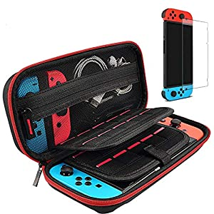 Best Epic Trends 51zyn2oQQCL._SS300_ Hestia Goods Switch Case and Tempered Glass Screen Protector Compatible with Nintendo Switch - Deluxe Hard Shell Travel…