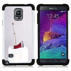 """Pulsar ( Arte rojo del hacha de hielo abstracta moderna aleatoria"""" ) Samsung Galaxy Note 4 IV / SM-N910 SM-N910 híbrida Heavy Duty Impact pesado deber de protección a los choques caso Carcasa de parachoques"""