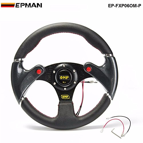 OMP- New 320MM Yellow PVC Sport Spoke Car Racing Steering Wheel Carbon Fiber + Horn Button EP-FXP06OM-P