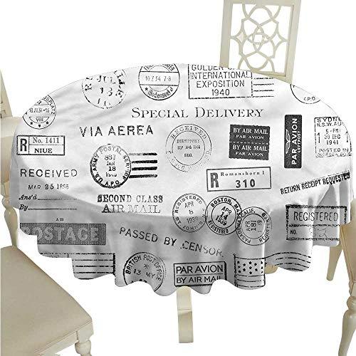 Postmark Originals (ScottDecor Outdoor Picnics Black and White,Postmarks Nostalgic Picnic Cloth Round Tablecloth D 60