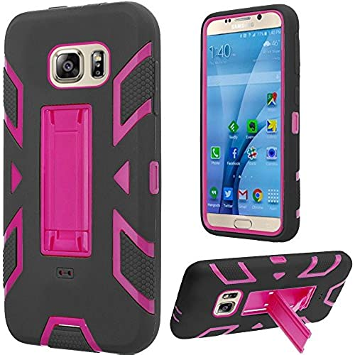 HRWIRELESS(TM) For Samsung Galaxy S7 Hip Vertical Hybrid Dual Layer Kickstand Cover Case (Hot Pink Black) Sales