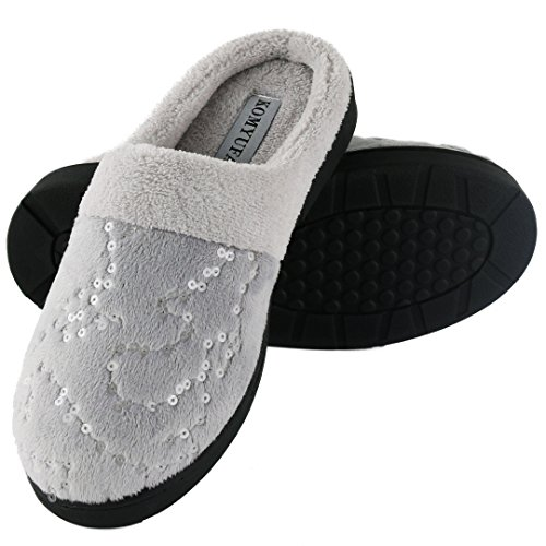 KOMYUFA Women's Soft Home Cotton Slippers Washable Flat Closed Toe Lightweight Indoor Outdoor House Shoes (L/7.5-8.5 B(M) US, Grey)