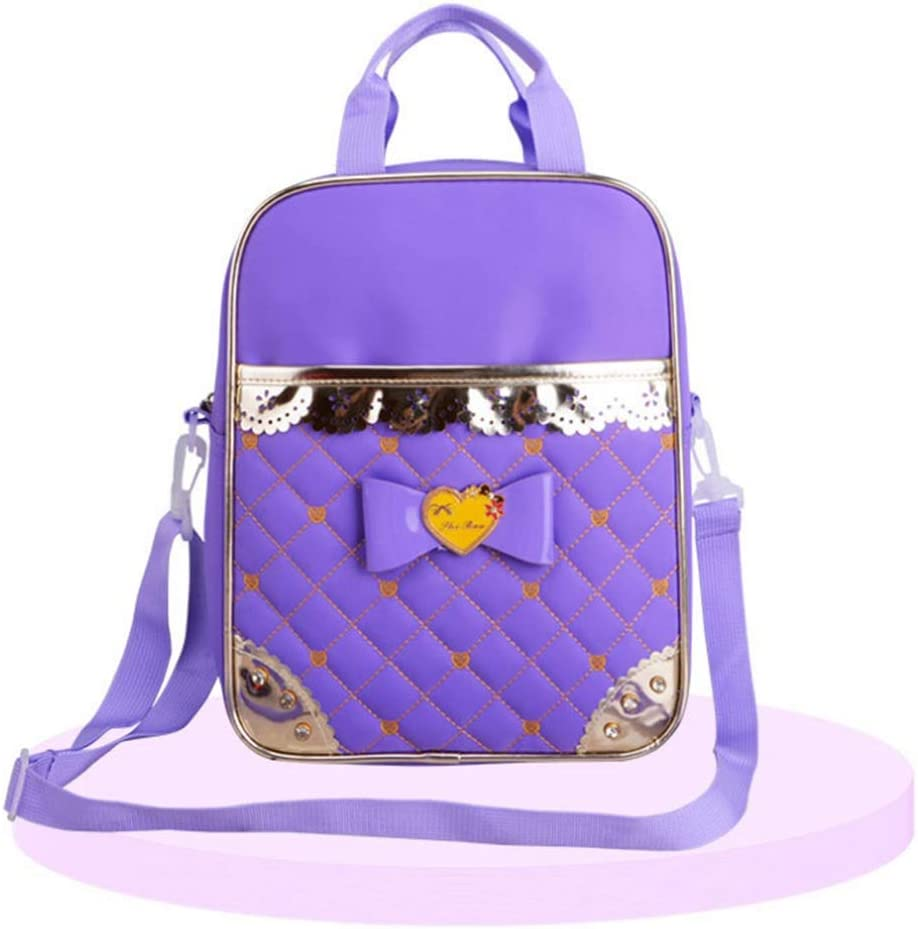 MAODATOU Canvas Laptop Backpack Set Durable PU Leather Cute Bowknot 2 in 1 Girls Backpack Sets Pack of Students Backpack Bookbag School Bags Sets Canvas School Backpack 3Pcs Color : Purple