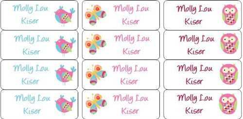 Amazon com 30 personalized waterproof name labels butterfly labels owl name labels bird labels personalized name labels personalized tags favor tags