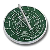 The Metal Foundry Personalized 20th China Wedding Anniversary Sundial with Pedestal Gift Idea is A Great Present for Him, for Her Or for A Couple to Celebrate 20 Years of Marriage