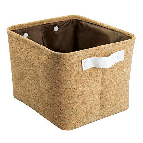 Quinn Bathroom Storage Bin For Towels, Shampoo, Cosmetics   Medium,  Cork/White