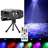 LED Stage Light 12W LED Water Wave Projector RGB Water Ripples Light Ocean Wave Night Light with Remote Water Effect RGB Light for KTV, Xmas, Party, Club