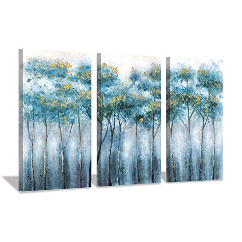 Blue Abstract Artwork Forest Pictures: Tree Landscape Painting on Canvas Wall Art for Living Rooms(16