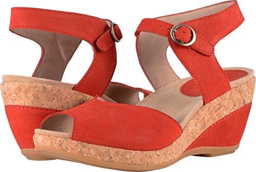 Dansko New Women's Charlotte Wedge Sandal Tomato Milled Nubuck 38