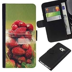 KingStore / Leather Etui en cuir / Samsung Galaxy S6 EDGE / Vert