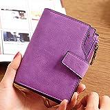 Woman PU Candy Color Short Style Card Bag Change Bag Girls Elegant Wallet Purse purple All code