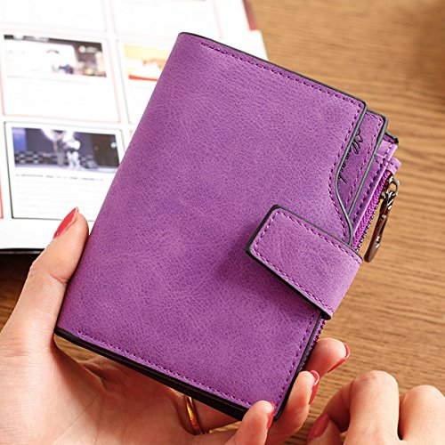 Woman PU Candy Color Short Style Card Bag Change Bag Girls Elegant Wallet Purse purple All code by Violet&HS