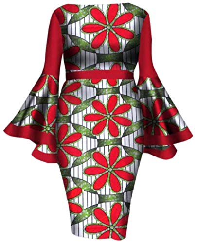 Abetteric Women Large Size Trumpet Sleeve Dashiki African A-Line Dress Red 3XL (Best African Clothing Styles)