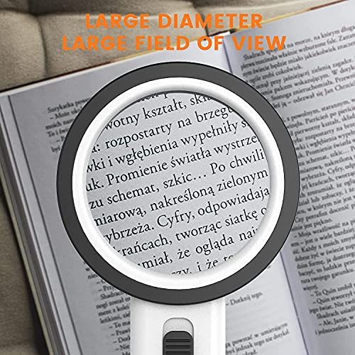LDesign Magnifying Glass with Light, 30X Handheld Large Reading Magnifier 12 LED 3 Modes , Illuminated Lighted Magnifier for Macular Degeneration, Seniors Reading Small Print, Stamps, Map, Inspection