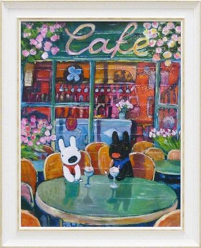 《アートフレーム》リサとガスパール アートフレーム Lサイズ 春のカフェ/絵画 壁掛け のあゆわら B00KM84N3K