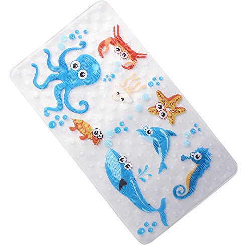 WARRAH NONE-SLIP Tub Kids Bath Mat - Premium Square Anti-Slip Shower Mat,Cool Slip Resistant Bathroom Floor Bathtub Mats for Babies,Children,Toddler (Blue Octopus)