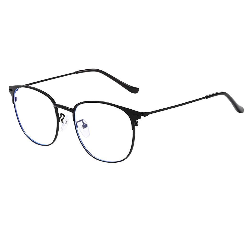 ♔IAMUP Light Block Glasses Round Optical Eyewear Non-prescription Vintage Fashion Outdoor Eyeglassee Frame