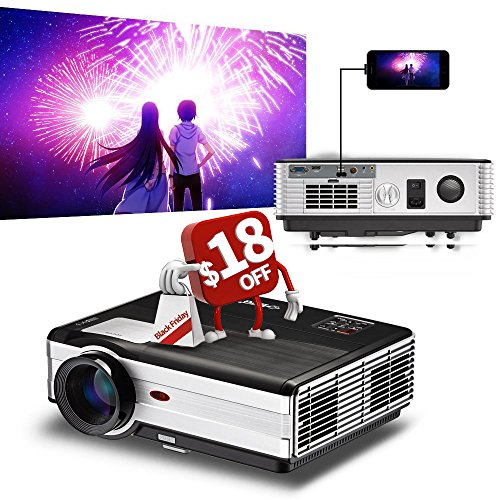 2017 EUG Smartphone iPhone Projector LCD LED 3500 Lumen HD 1080P Support, Wired Synchronize Use a USB cable only, 1280x800 Native Resolution with Dual HDMI,Dual USB, VGA,AV, Earphone Interface by EUG