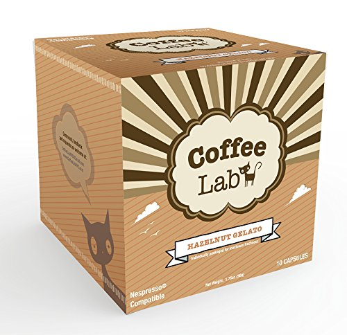 Coffee Lab - Nespresso Compatible - Hazelnut Gelato 10 Capsules Pods Italian Natural Flavoring Espresso (Hazelnut Gelato)