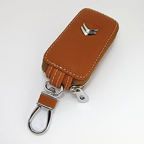CHAMPLED Cowhide leather Car Key shell Holder Keychain Ring Case Bag Fit For CITROEN Brown Auto