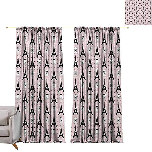 (Blackout Window Curtain Eiffel,Cartoon Eiffel Towers with Perfume Bottles on Polka Dotted Backdrop Romantic, Rose Black White W108 x L84 Room Darkening Wide Curtains)