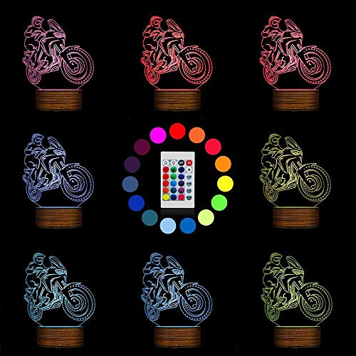 Novelty Lamp, 3D LED Lamp Optical Illusion Motorcyclist Night Light, USB Powered Remote Control Changes The Color of The Light Birthday Gift Decoration Baby Boy Girl Child,Ambient Light by LIX-XYD (Image #1)