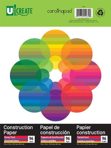 U:Create Construction Paper, 9 x 12-Inches, Assorted Colors, 96 sheets - 696 Kids