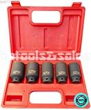 SKEMiDEX---5pc 1/2'' Drive Front & Back SAE Wheel Spindle Axle Nut Deep Impact Socket Set. Ideal for heavy duty use in removing and installing axle nuts, comes in handy storage case