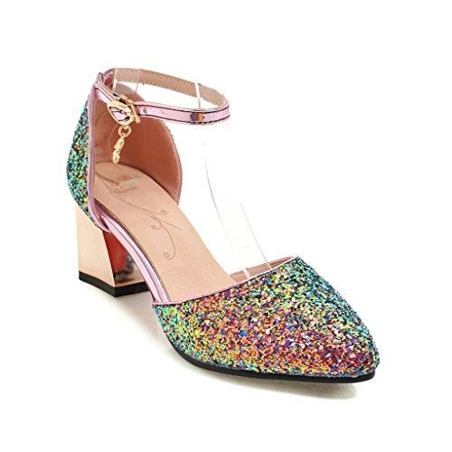 Paillettes Peu Talon Bouche Sandales Profonde d'épaisseur Black Fait Chaussures avec Femmes Fashion Boucle qt61nv