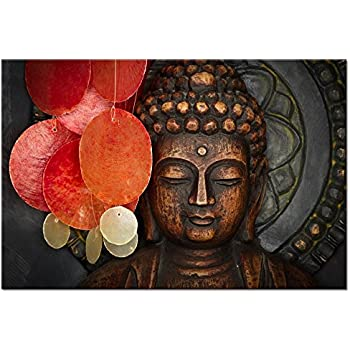 Buddha Canvas Wall Art Wood Buddha Statue Canvas Prints Keep Inner Peaceful  Buddha Artwork For Living