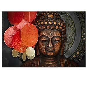 Buddha Canvas Wall Art Wood Buddha Statue Canvas Prints Keep Inner Peaceful  Buddha Artwork For Living