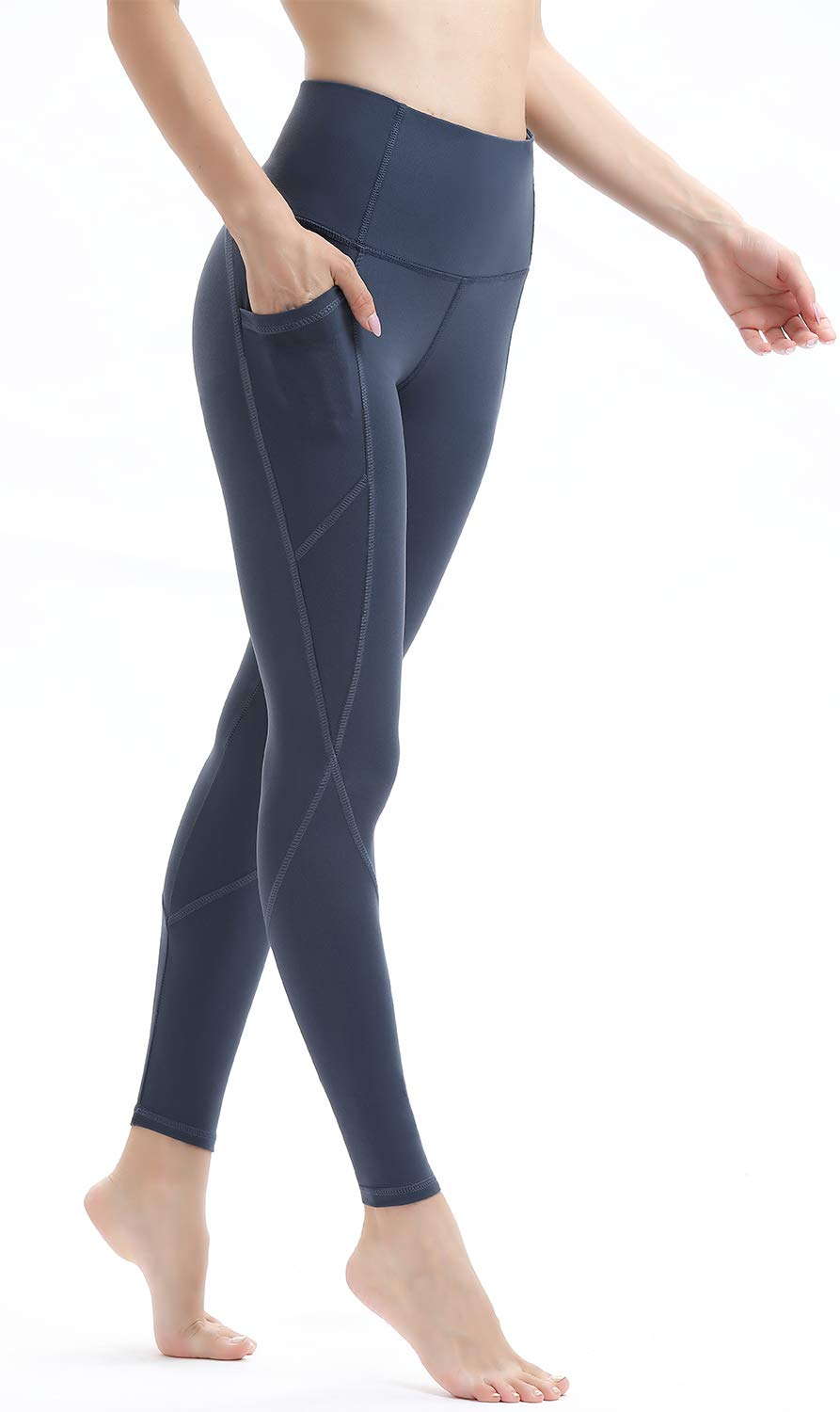 AFITNE Yoga Pants for Women High Waisted Tummy Control Leggings with Pockets Workout Yoga Pants Navy - XS